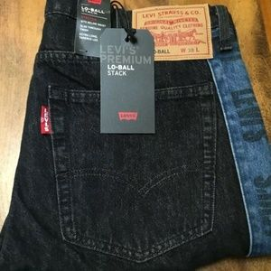 LEVI'S Mens 38x36 LO-BALL Stack Logo Stripe Jeans